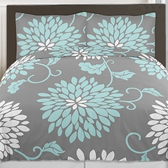 Turquoise Blue, Grey and White Ella Floral 4pc Twin Girls Teen Bedding Set by Sweet Jojo Designs