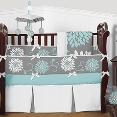 Turquoise Blue, Grey and White Ella Floral Baby Girl Bedding - 9pc Crib Set by Sweet Jojo Designs