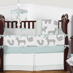 Turquoise Blue Grey and White Origami Woodland Animal Baby Bedding - 9pc Boys Girls Crib Set by Sweet Jojo Designs