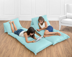 Turquoise Blue Kids Teen Floor Pillow Case Lounger Cushion Cover by Sweet Jojo Designs
