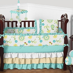 Turquoise Blue, Light Yellow and White Floral Lilly Baby Bedding - 9pc Girls Crib Set by Sweet Jojo Designs