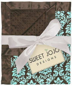 Turquoise & Brown Damask Print Minky Dot Chenille and Satin Baby Blanket by Sweet Jojo Designs