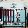 Turquoise Funky Zebra Baby Bedding - 11pc Crib Set