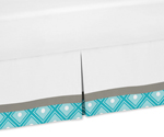Turquoise Gray and White Toddler Bed Skirt for Mod Elephant Kids Childrens Bedding Sets by Sweet Jojo Designs
