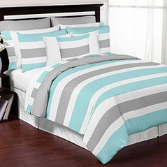 Turquoise, Grey and White Stripe 4 Piece Childrens, Kids, and Teen Bedding Set Collection by Sweet Jojo Designs