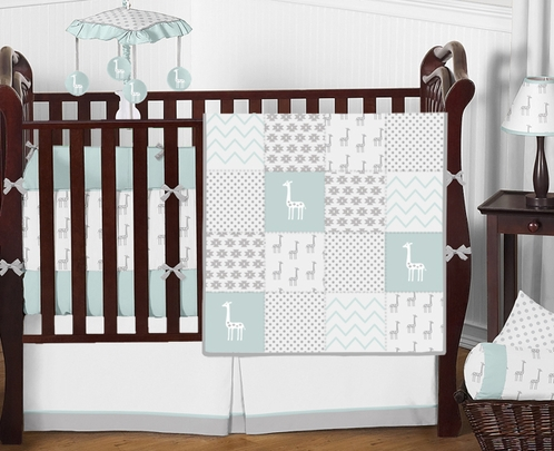 Turquoise, Grey and White Patchwork Polka Dot Little Giraffe Baby Boys or Girls Bedding Crib Set with Bumper - 9 Pieces - Click to enlarge