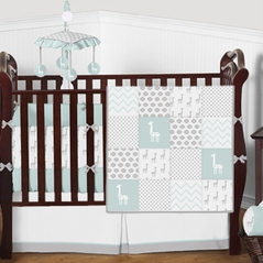 Turquoise, Grey and White Patchwork Polka Dot Little Giraffe Baby Boys or Girls Bedding Crib Set with Bumper - 9 Pieces
