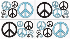 Turquoise Groovy Peace Sign Tie Dye Kids and Teens Wall Decal Stickers - Set of 4 Sheets