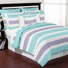 Turquoise, Lavender and White Stripe 4 Piece Childrens, Kids, and Teen Bedding Set Collection by Sweet Jojo Designs