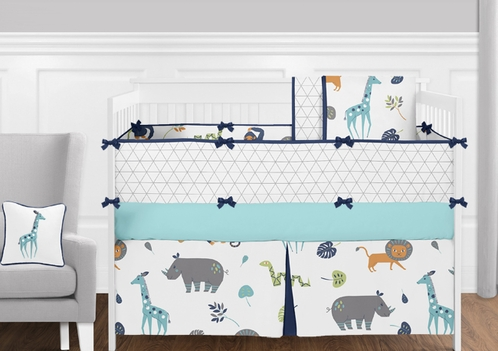 Turquoise, Navy Blue, Grey and White Funky Jungle Animal Safari - 9 Piece Girls or Boys Gender Neutral Crib Baby Bedding Set - Click to enlarge