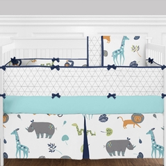 Turquoise, Navy Blue, Grey and White Funky Jungle Animal Safari - 9 Piece Girls or Boys Gender Neutral Crib Baby Bedding Set