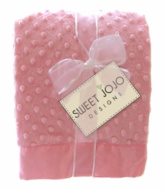 Unique Super Soft Pink Girl Minky Dot and Satin Baby Blankets by Sweet Jojo Designs