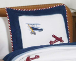 Vintage Aviator Airplane Pillow Sham