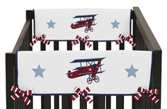 Vintage Aviator Baby Crib Side Rail Guard Covers by Sweet Jojo Designs - Set of 2