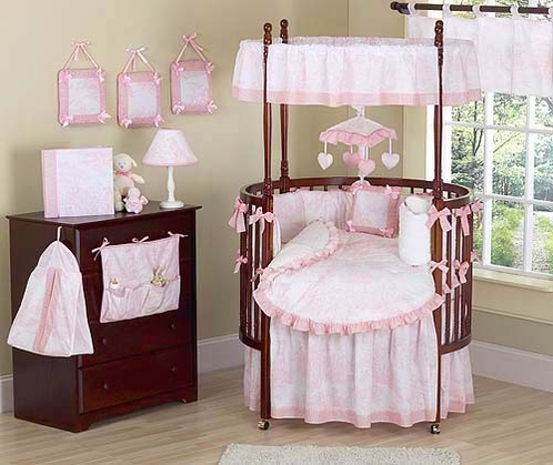 Vintage French Pink Toile Baby Bedding 9 Pc Round Crib