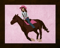 Western Horse Cowgirl Accent Floor Rug