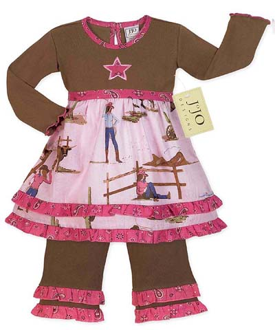 Western Horse Cowgirl Baby Girls Infant 2pc Set or Dress by Sweet Jojo Designs - Click to enlarge