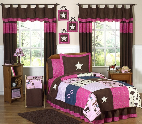 Western Horse Cowgirl Children's Bedding - 4 pc Twin Set - Click to enlarge