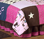Western Horse Cowgirl Queen Kids Children's Bed Skirt by Sweet Jojo Designs