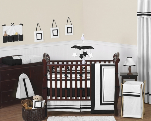 White and Black Modern Hotel Baby Bedding - 9pc Crib Set by Sweet Jojo Designs - Click to enlarge
