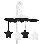 White and Black Modern Hotel Musical Baby Crib Mobile by Sweet Jojo Designs