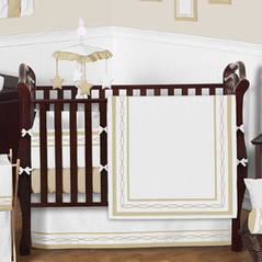White and Gold Embroidered Hotel Bedding - 9 pc Crib Set by Sweet Jojo Designs