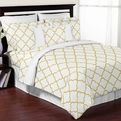 White and Gold Trellis 3pc Full / Queen Girls Teen Bedding Set