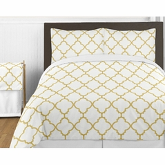 White and Gold Trellis 4pc Twin Girls Kids Bedding Set