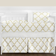 White and Gold Trellis Baby Bedding - 9pc Girls Crib Set