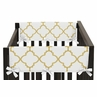 White and Gold Trellis Baby Crib Side Rail Guard Covers by Sweet Jojo Designs - Set of 2