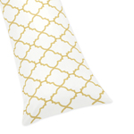 White and Gold Trellis Full Length Double Zippered Body Pillow Case Cover by Sweet Jojo Designs