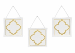 White and Gold Trellis Wall Hanging Accessories by Sweet Jojo Designs