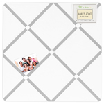 White and Gray Hotel Fabric Memory/Memo Photo Bulletin Board by Sweet Jojo Designs