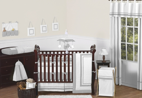 White and Gray Modern Hotel Baby Bedding - 9pc Crib Set by Sweet Jojo Designs - Click to enlarge