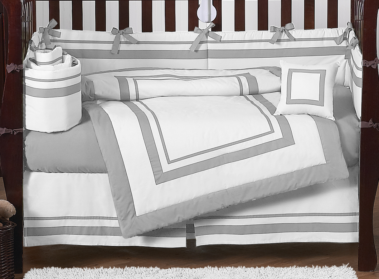 Bed sheets designs white - White And Gray Modern Hotel Baby Bedding 9pc Crib Set By Sweet Jojo Designs Only 189 99