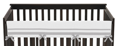 White and Gray Modern Hotel Baby Crib Long Rail Guard Cover by Sweet Jojo Designs
