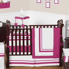 White and Hot Pink Modern Hotel Baby Bedding - 9 pc Crib Set by Sweet Jojo Designs