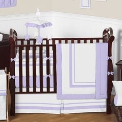 White and Lavender Baby Bedding - 9 pc Crib Set by Sweet Jojo Designs