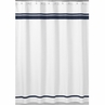White and Navy Hotel Kids Bathroom Fabric Bath Shower Curtain by Sweet Jojo Designs