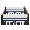 White and Navy Modern Hotel Baby Crib Side Rail Guard Covers by Sweet Jojo Designs - Set of 2