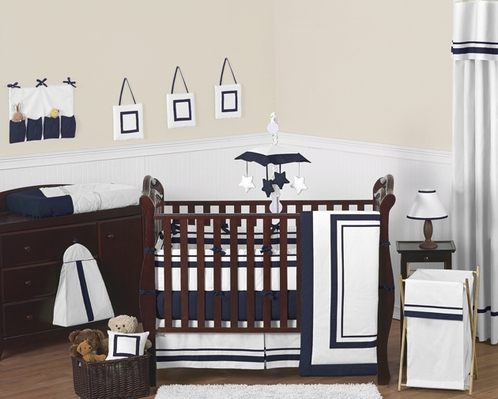 White and Navy Modern Hotel Baby Bedding - 9pc Crib Set by Sweet Jojo Designs - Click to enlarge