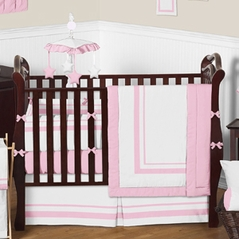 White and Light Pink Baby Bedding - 9 pc Crib Set by Sweet Jojo Designs