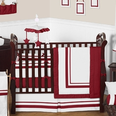 White and Red Modern Hotel Baby Bedding - 9 pc Crib Set by Sweet Jojo Designs