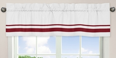 White and Red Hotel Modern Window Valance by Sweet Jojo Designs