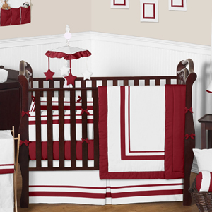 White and Red Modern Hotel Baby Bedding - 9pc Crib Set by...