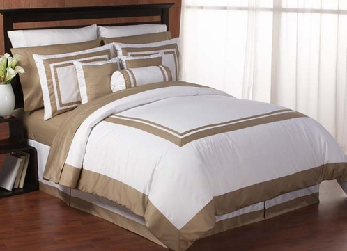 White And Taupe Hotel Duvet Comforter Cover 6 Pc Bedding