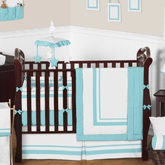 White and Turquoise Modern Hotel Baby Bedding - 9 pc Crib Set by Sweet Jojo Designs