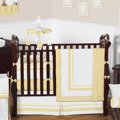 White and Yellow Modern Hotel Baby Bedding - 9 pc Crib Set by Sweet Jojo Designs