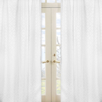 White Diamond Jacquard Modern Window Treatment Panels by Sweet Jojo Designs - Set of 2