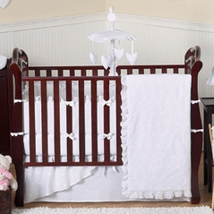 White Eyelet Baby Bedding - 9pc Crib Set